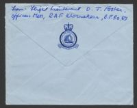 Lot 16295 [2 of 2]:1957 commercial air cover to GB with GB 2½d & FPO 255 cds, embossed 'ROYAL AIR FORCE STATION/KHORMAKSAR' on flap, o/o.