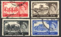 Lot 19439:1955-58 QEII Waterlow Castles SG #536-9 2/6d to £1 Cat £55. (4)