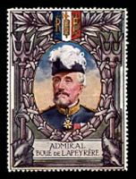 Lot 2:France: c.1916 multi-coloured label with portrait of Admiral Boue De Lapeyrere issued for Lord Roberts Memorial Fund.