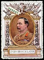 Lot 76:Great Britain: c.1916 multi-coloured label with portrait of Lt Gen Sir H C Sclater issued for Lord Roberts Memorial Fund.