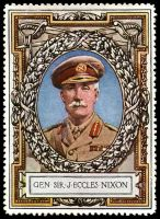 Lot 9:Great Britain: c.1916 multi-coloured label with portrait of General Sir J Eccles Nixon issued for Lord Roberts Memorial Fund.