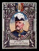 Lot 51:France: c.1916 multi-coloured label with portrait of Admiral Boue De Lapeyrere issued for Lord Roberts Memorial Fund.