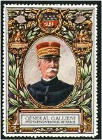 Lot 50:France: c.1916 multi-coloured label with portrait of General Gallieni Military Governor of Paris issued for Lord Roberts Memorial Fund.
