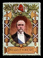 Lot 12:France: c.1916 multi-coloured label with portrait of President Poincare issued for Lord Roberts Memorial Fund.