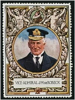 Lot 79:Great Britain: c.1916 multi-coloured label with portrait of Vice Admiral J M De Robeck issued for Lord Roberts Memorial Fund.