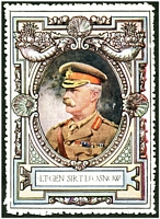 Lot 10:Great Britain: c.1916 multi-coloured label with portrait of Lt-Gen Sir T D'Osnow issued for Lord Roberts Memorial Fund.