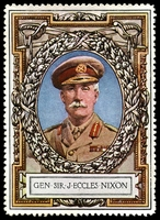 Lot 73:Great Britain: c.1916 multi-coloured label with portrait of General Sir J Eccles Nixon issued for Lord Roberts Memorial Fund.