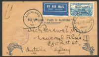 Lot 818:1934 New Zealand - Australia AAMC #360 (February 17) Faith in Australia flight with special NZ 7d blue adhesive and illustrated cover.