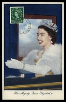 Lot 21300:1953: Maxim card with GB 1½d QEII SG 517 tied by Jersey CDS 4 SP 53.