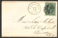 Lot 4500:1880 small cover to Brooklyn with 3c green Washington tied by cork type cancel with fine 'COLDWATER/JAN18/MICH.' alongside.