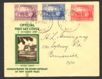 Lot 4467:APO 1937 NSW Sesquicentenary set tied to illustrated FDC by Melbourne cds 1OC37.
