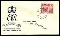 Lot 3550:1953 Royal Visit 8d tied to illustrated FDC by Suva CDS 16 DE 53.