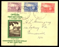 Lot 1040:APO 1937 NSW Sesquicentenary set tied to illustrated FDC by Melbourne cds 1OC37.