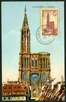 Lot 4055:1939 Strasbourg Cathedral SG #653 70c, tied to PPC of Strasbourg Cathedral by Strasbourg CDS 1939, early maximum card.