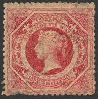 Lot 668:1860-72 Diadems Wmk Double-Lined Numeral Perf 13 SG #169 1/- carmine, Cat £85, pulled perf at base.