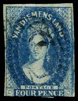 Lot 10249:1855 Imperf Chalon Wmk Large Star SG #17 4d deep blue 3-margins (close to large), Cat £100.