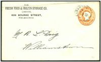 Lot 2399 [1 of 2]:1896 local use of 1d orange-brown QV embossed envelope, for The Fresh Food & Frozen Storage Co.
