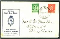 Lot 4463:APO 1937 1d QE & 2d KGVI tied to FDC by Saddleworth S.A. cds 10MY37.
