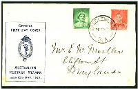 Lot 911:APO 1937 1d QE & 2d KGVI tied to FDC by Saddleworth S.A. cds 10MY37.