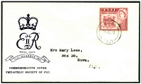 Lot 21074:1953 Royal Visit 8d deep carmine red SG 279 tied to illustrated FDC by Suva cds 16DE 53.