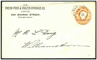 Lot 11694 [1 of 2]:1896 local use of 1d orange-brown QV embossed envelope, for The Fresh Food & Frozen Storage Co.