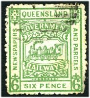 Lot 7939:1901-15 4th Series third issue 6d green with part numeral cancel.