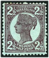 Lot 7921:1897-1908 4-Corners Wmk 2nd Crown/Q Perf 12½,13 SG #237 2½d purple/blue.