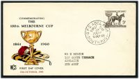Lot 742:WCS 1960 Melbourne Cup 5d tied to illustrated WCS FDC by Adelaide cds 12OCT60.