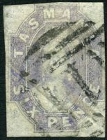 Lot 1741:1860-67 Imperf Chalon Wmk Double-Lined Numeral SG #46 6d grey-violet 4-margins close to good.