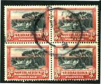 Lot 4379:1927-30 Pictorials Recess SG #35 3d black & red block of 4.