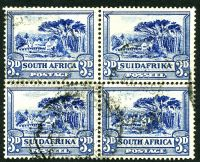 Lot 4380:1930-45 Rotogravure, Unhyphenated SG #45c 3d blue block of 4.