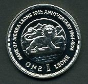 Lot 24 [1 of 2]:Sierra Leone: 1974 1L 10th Anniversary of Bank cased silver Proof.