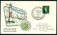 Lot 20769:1954 36th Philatelic Congress illustrated cover with 1½d QEII tied by commemorative cancel Eastbourne 25 MAY 1954.