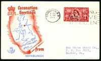 Lot 20821:1953 Coronation Greetings illustrated cover for Edinburgh with 2½d Coronation tied by Edinburgh cds 3 JNE 1953.