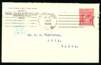 Lot 27846:1917 cover from Sydney to Apia with 1d red KGV cancelled May 22 with boxed 'PASSED BY CENSOR 2 GRI SAMOA' handstamp in green.