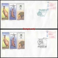 Lot 1100:1988 Sydpex 88 set of nine illustrated covers with Sydpex 50c Frama tied by the daily Exhibition special postmarks, all unaddressed. (9)