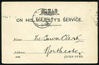 Lot 4217:1912 OHMS Post Card for the Department Of Lands & Survey used to Northcote with Paid at Melbourne ½D17.4.12 Krag machine cancel in black.