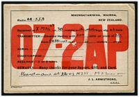 Lot 4249 [2 of 2]:1927 use of Radio Card for OZ-2AP from New Zealand to South Australia with NZ ½d KGV and 1d double deficient handstamp and 1d Australian Postage Due affixed and pen cancelled.