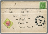 Lot 4249 [1 of 2]:1927 use of Radio Card for OZ-2AP from New Zealand to South Australia with NZ ½d KGV and 1d double deficient handstamp and 1d Australian Postage Due affixed and pen cancelled.