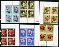 Lot 3251:1968 Floral Emblems BW #483-8 set in corner blocks of 4.