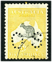 Lot 990:5/- Grey & Yellow - BW #44wa perf 'OS' CTO, Cat $200, with unplated Damaged left ear from column 1.