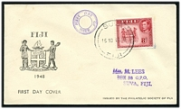 Lot 21070:1948 KGVI 8d carmine SG 261c tied to illustrated FDC by Suva cds 15NO48.