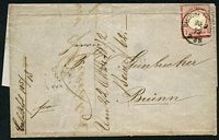 Lot 4081:1872 outer to Brunn with 1Gr tied by Hamburg cds 20-8 72 crease affects adhesive, but nice early Eagle cover.