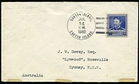 Lot 4038:1940 cover to Australia with USA 5c tied by fine CANTON ISLAND cancel JUL 14 1940.