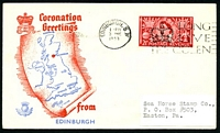 Lot 22463:1953 Coronation Greetings illustrated cover for Edinburgh with 2½d Coronation tied by Edinburgh cds 3 JNE 1953.