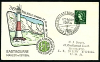 Lot 3574:1954 36th Philatelic Congress illustrated cover with 1½d QEII tied by commemorative cancel Eastbourne 25 MAY 1954.