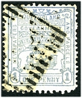 Lot 6477:1901-15 4th Series third issue 1d blue with part numeral cancel.