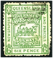 Lot 6479:1901-15 4th Series third issue 6d green with part numeral cancel.