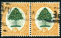 Lot 4568:1926-27 Pictorials SG #32 6d green & orange horizontal pair.
