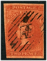 Lot 8814:1856-58 Imperf Adelaide Printing SG #8 2d blood-red, 3½ good margins.